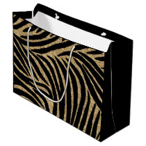 Black and Gold Glitter Zebra Print Large Gift Bag