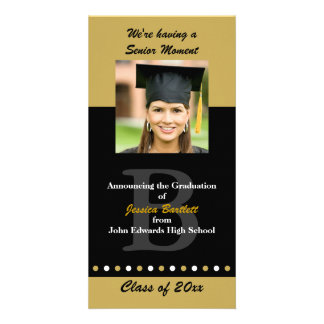 Black and Gold Graduation Announcement Photo Card