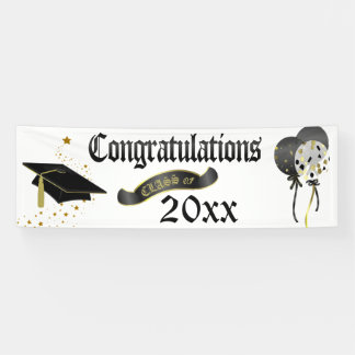 Black and Gold Graduation Class Of Banner
