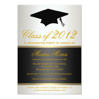 Black and Gold Graduation Invitation