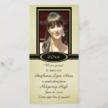 """Black and Gold Graduation Photo Card<br><div class=""""desc"""">This elegant graduation photo card lets your graduate take center stage in a gold and black frame with a matching oval year plate at the bottom of the photograph. All of the text is easily customized, with an extra line for additional information. If the extra line is not needed, just...</div>"""