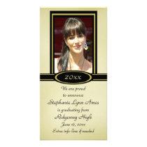 Black and Gold Graduation Photo Card