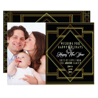 black and gold great gatsby holiday photo card