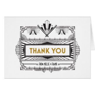 Black and Gold Great Gatsby Thank You Notes
