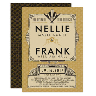 Black and Gold Great Gatsby Wedding Invitations