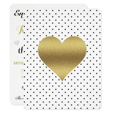 McTiffany Tiffany Aqua Black And Gold Heart & Polka Dot Party Invitation