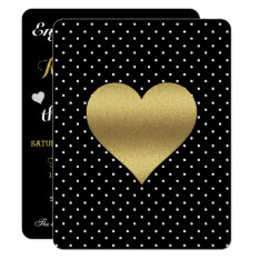 Black And Gold Heart & Polka Dot Party Invitation at Zazzle
