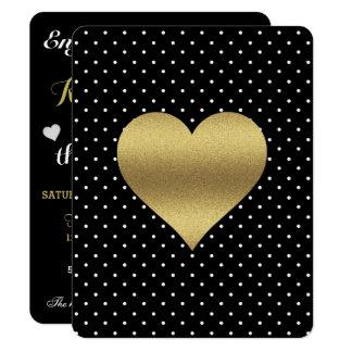 Black And Gold Heart & Polka Dot Party Invitation