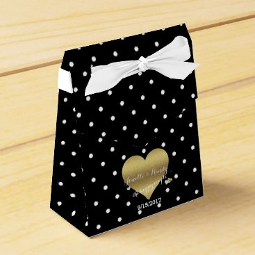 McTiffany Tiffany Aqua Black And Gold Heart Polka Dots Party Favor Boxes