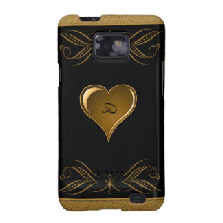 Black and Gold Heart Scroll Accent Samsung Galaxy S2 Case