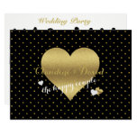 Black And Gold Heart Wedding Party Program Card
