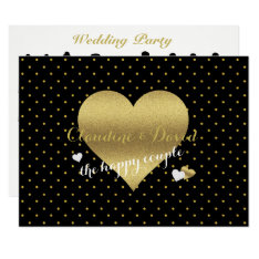 Black And Gold Heart Wedding Party Program Card at Zazzle