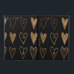 "Black and Gold Hearts Custom iPad Air 2 Case<br><div class=""desc"">Stylish iPad Air 2 case done black,  with gold tone glitter looking whimsical hearts.  Personalize the golden brown text,  on the front,  for yourself or as a great gift idea.</div>"