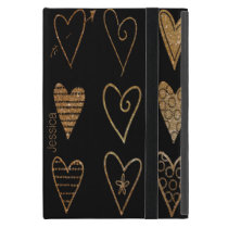 Black and Gold Hearts Custom iPad Mini Case