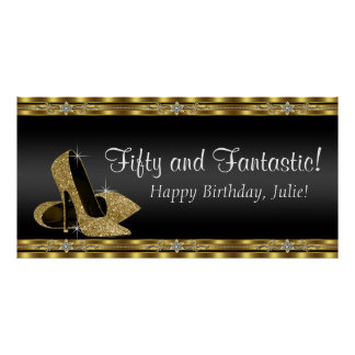 Black and Gold High Heel Birthday Party Banner Poster