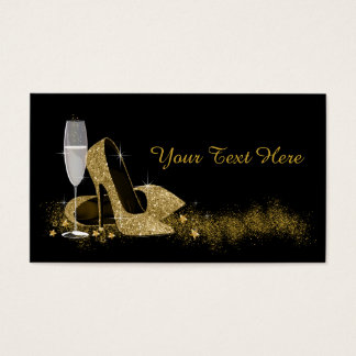 Black and Gold High Heel Shoe Business Card