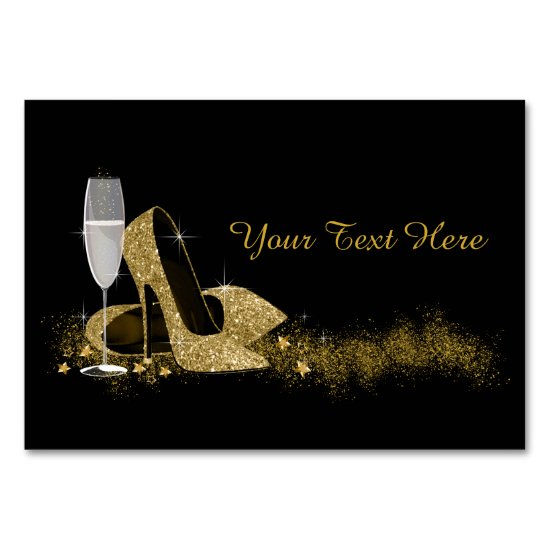 Black and Gold High Heel Shoe Table Number