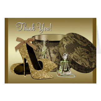 Black and Gold High Heel Shoe Thank You Greeting Card