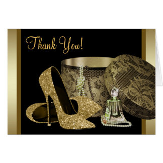Black and Gold High Heel Shoes Thank You Cards