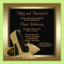 The gift rx fiftieth birthday cards black and gold high heels womans 50th birthday card bookmarktalkfo Choice Image