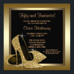 "Black and Gold High Heels Womans 50th Birthday Invitation<br><div class=""desc"">Elegant black and gold glitter high heel shoes woman&#39;s fiftieth birthday party invitation. This beautiful black and gold high heel shoe party invitation is easily customized for your event by adding your event details,  font style,  font size &amp; color,  and wording.</div>"
