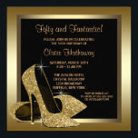 """Black and Gold High Heels Womans 50th Birthday Invitation<br><div class=""""desc"""">Elegant black and gold glitter high heel shoes woman"""
