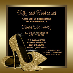 black and gold high heels womans 50th birthday invitation