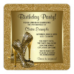 Black and Gold High Heels Womans Birthday Party Personalized Announcement Cards