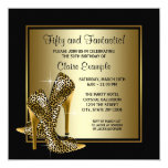 Black and Gold High Heels Womans Birthday Party Invite
