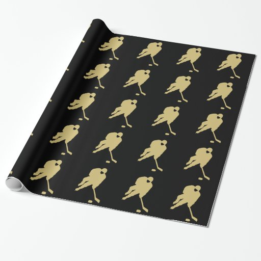 black and gold hockey 2 wrapping paper zazzle. Black Bedroom Furniture Sets. Home Design Ideas