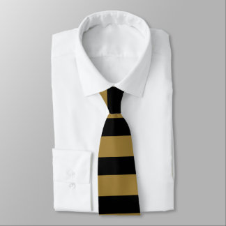 Black and Gold Horizontally-Striped Tie