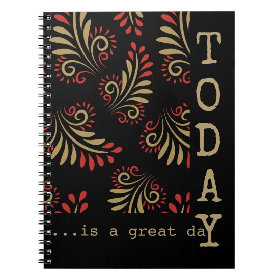 Black And Gold Inspirational Words Typography Spiral Notebook