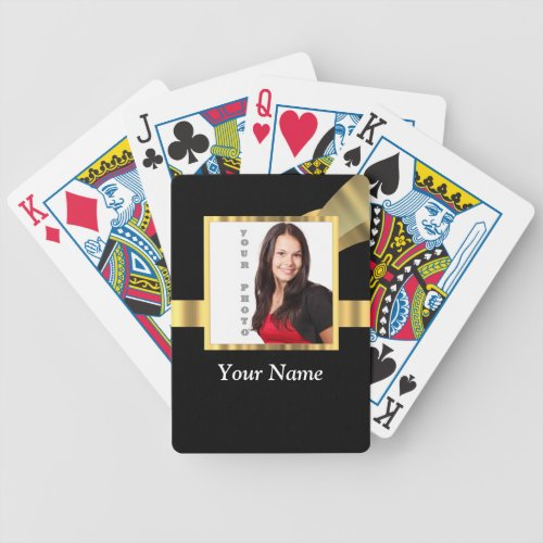 Black and gold instagram template bicycle playing cards