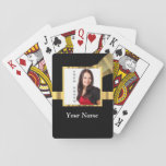 "Black and gold instagram template playing cards<br><div class=""desc"">Black and gold elegant chic simple plain pattern and  with an instagram style camera phone  photo template easily personalize this with your own photo or text to the customizable  templates. Visit the PHOTOGIFTZ STORE for matching products and more template photo gifts. PLEASE NOTE the golden color is not metallic.</div>"