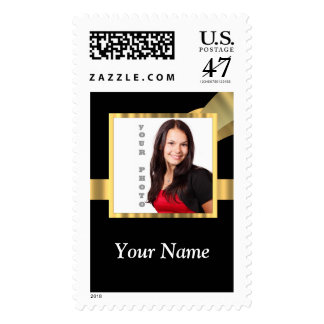 Black and gold instagram template postage