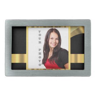 Black and gold instagram template rectangular belt buckle