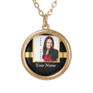 Black and gold instagram template round pendant necklace