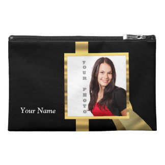 Black and gold instagram template travel accessory bag