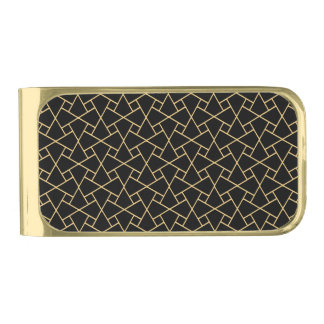 Black and Gold Islamic Mosaic Pattern Money Clip