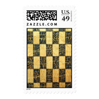 Black and Gold Japanese Checkered Pattern Stamp