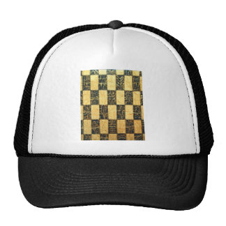 Black and Gold Japanese Checkered Pattern Trucker Hat