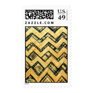 Black and Gold Japanese Stripe Pattern Postage Stamps