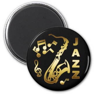BLACK AND GOLD JAZZ 2 INCH ROUND MAGNET