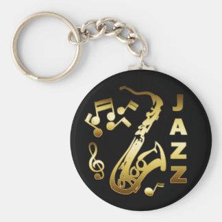 BLACK AND GOLD JAZZ BASIC ROUND BUTTON KEYCHAIN