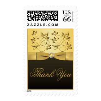 Black and Gold Jewelled Thank You Postage stamp