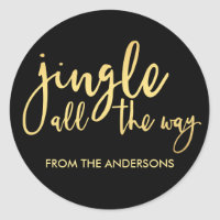 Black and Gold Jingle all the Way with Name Classic Round Sticker