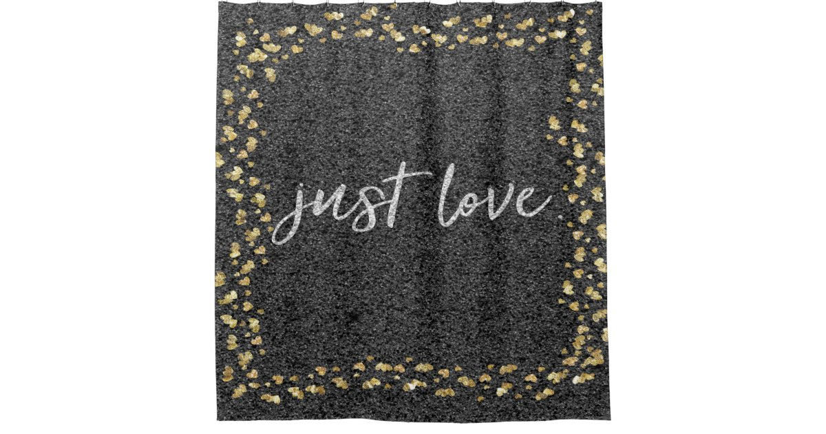 Black And Gold Just Love Shower Curtain Zazzle