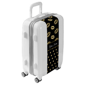 Black and Gold Kisses and Love Hearts Luggage