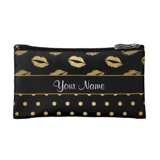 Black and Gold Kisses and Love Hearts Makeup Bag