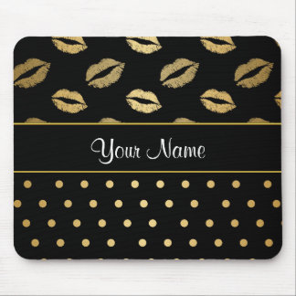 Black and Gold Kisses and Love Hearts Mouse Pad